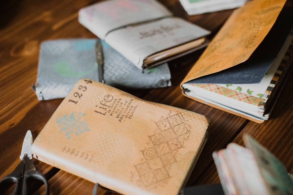 artisan covers, known as traveler notebooks, for various topics of interest