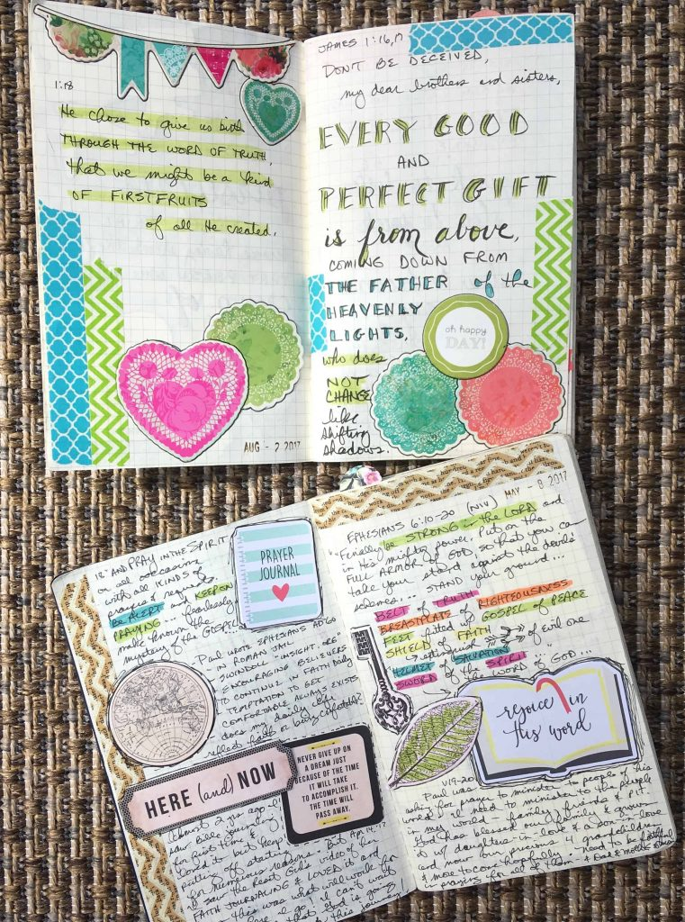 brightly colored diecuts and washi tape are used to decorate the pages of my faith journal