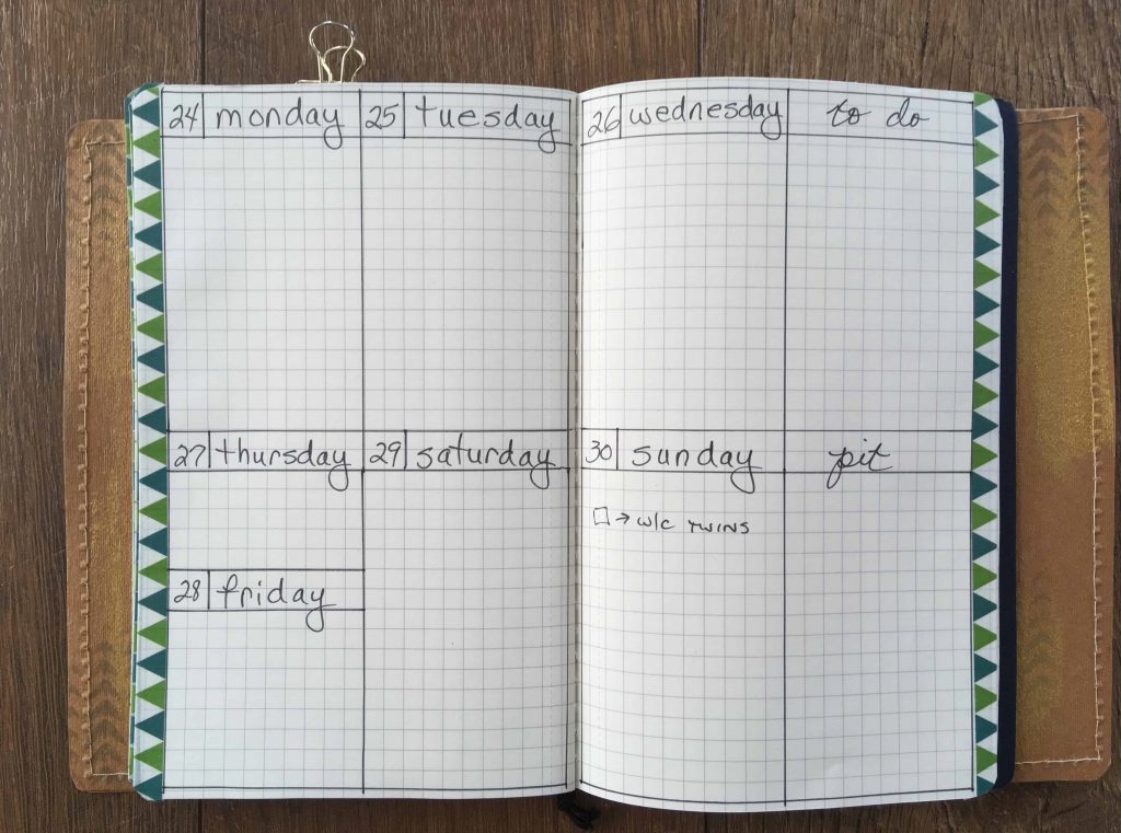 weekly view of bullet journal